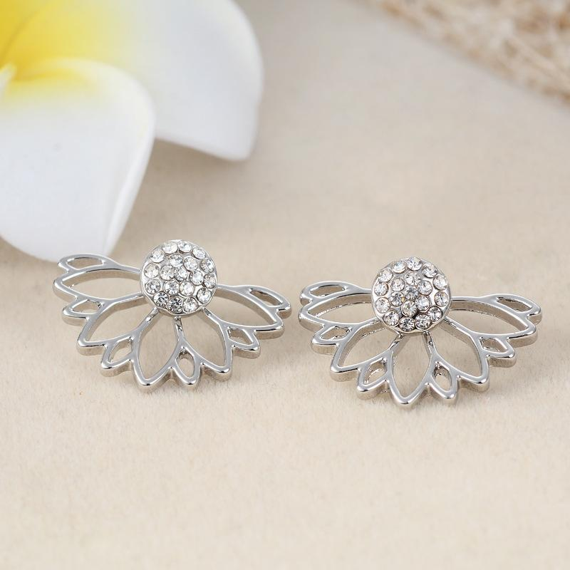 Crystal 925 Sterling silver daisy flower front and back two sided stud earrings Ear nail Korean For Women