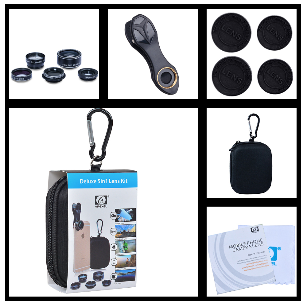 Toptan cep telefonu Lens Kitleri 5in1 iPhone xiaomi HTC için HUAWEI Samsung Galaxy S7 / S7 Kenar S6 / S6 Kenar için ücretsiz kargo