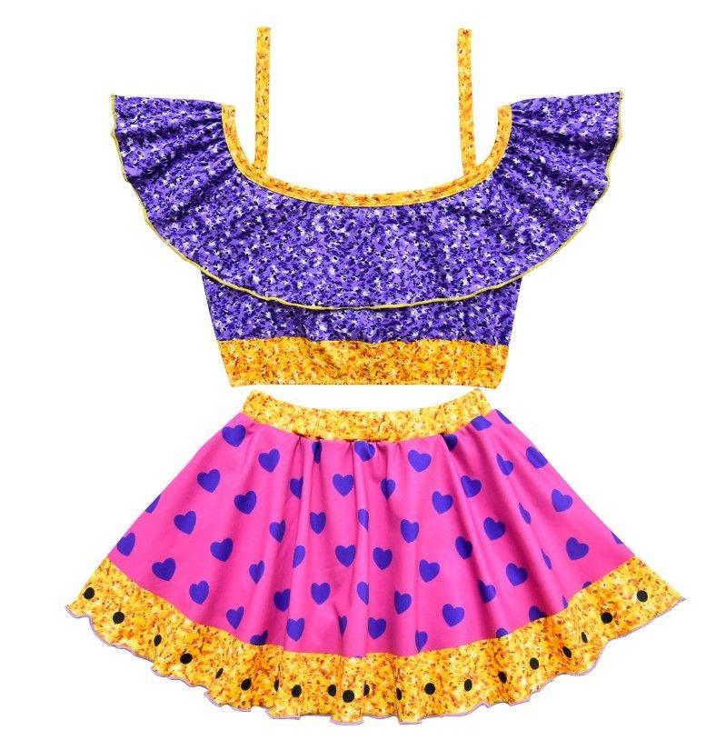 Baby Girls Two Piece Swimwear Cartoon Girls Kawaii Halloween Party Cosplay Costume Swimwear Bikini Summer Ruffle TUTU Bathing Suit FFA910