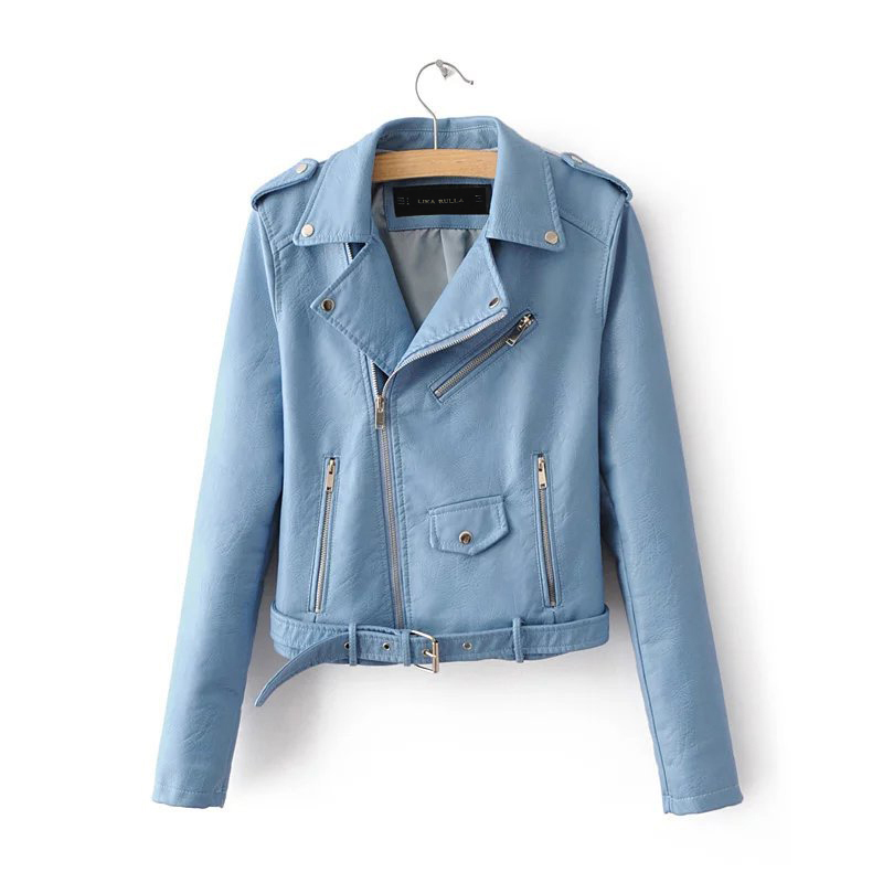 2017 Lika S-XL New Spring Fashion Bright Colors Good Quality Ladies Basic Street Women Short PU Leather Jacket FREE Accessories Y18110501