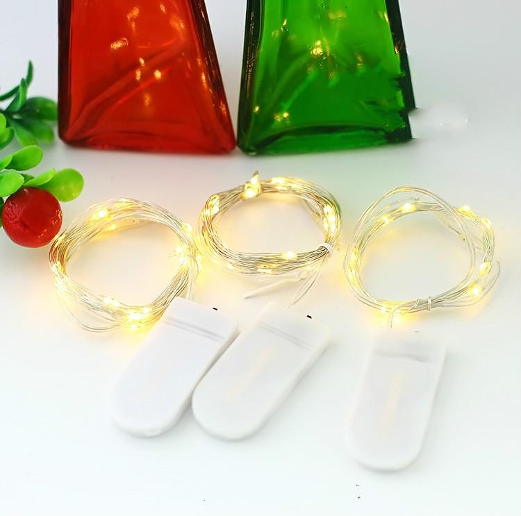Calidad cadena de luz led de navidad con 2032 botón caja de la batería cadena de luz pastel de flores decoración de la fiesta linterna luces