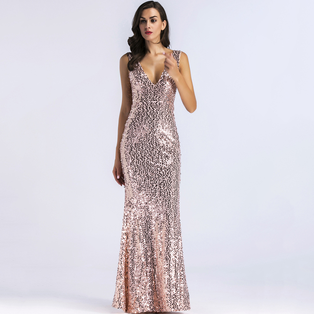 a2bfd211f09 Maxi dress women 2018 summer sexy elegant long dresses plus size bandage v  neck gold sequined ...