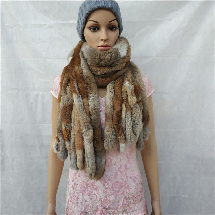knitted rex rabbit fur scarf for women winter (6)