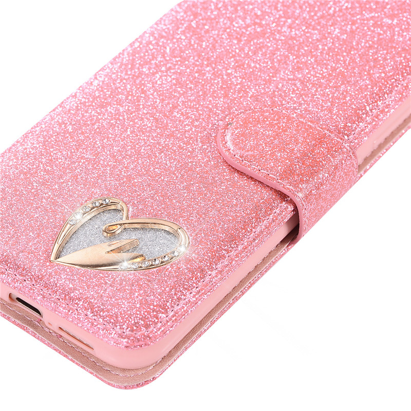 Case For Huawei P20 lite cover glitter Star diamond love flip wallet leather case For Huawei Nova 3e case silicon TPU back cover28