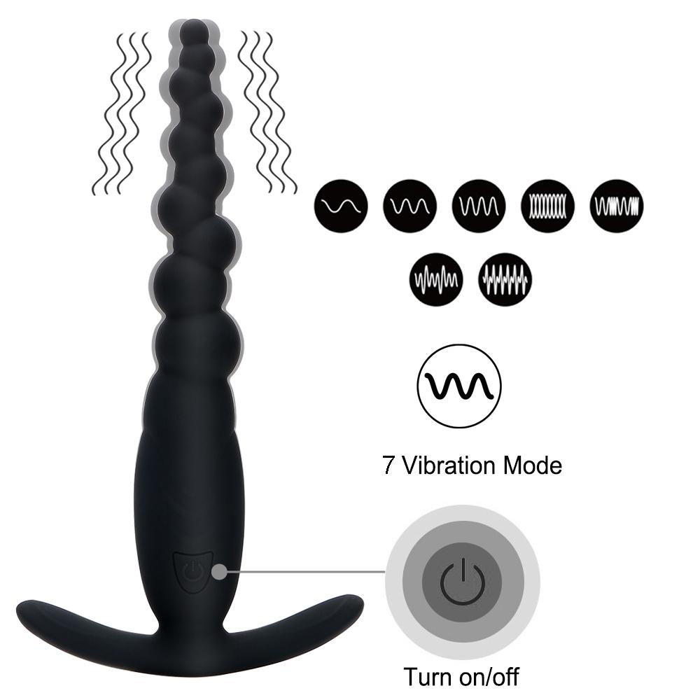 IKOKY Perles Anales Prostate Masseur 7 Mode Vibrateur Anal Butt Plug G Spot Érotique Plug Anal Produits Pour Adultes Sex Toys pour Femmes Hommes S1018