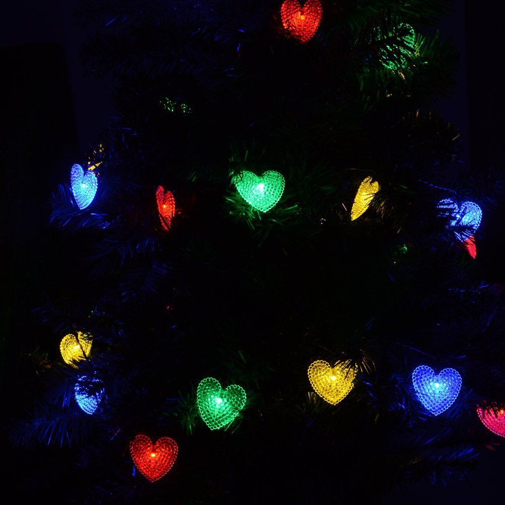 LED a forma di cuore Solar Fairy String Light Solar Powered LED Fairy Light String la festa di nozze Decorazione natalizia Dropship all'ingrosso
