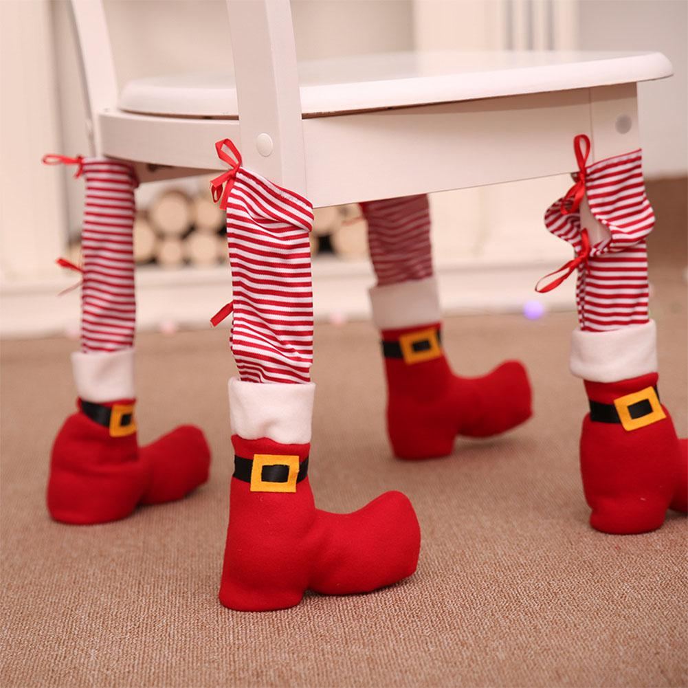 Оптовая 4 шт./компл. рождественский стол стул ноги обложки смешно Санта-Клаус ноги обувь форма украшения партии Рождественский подарок