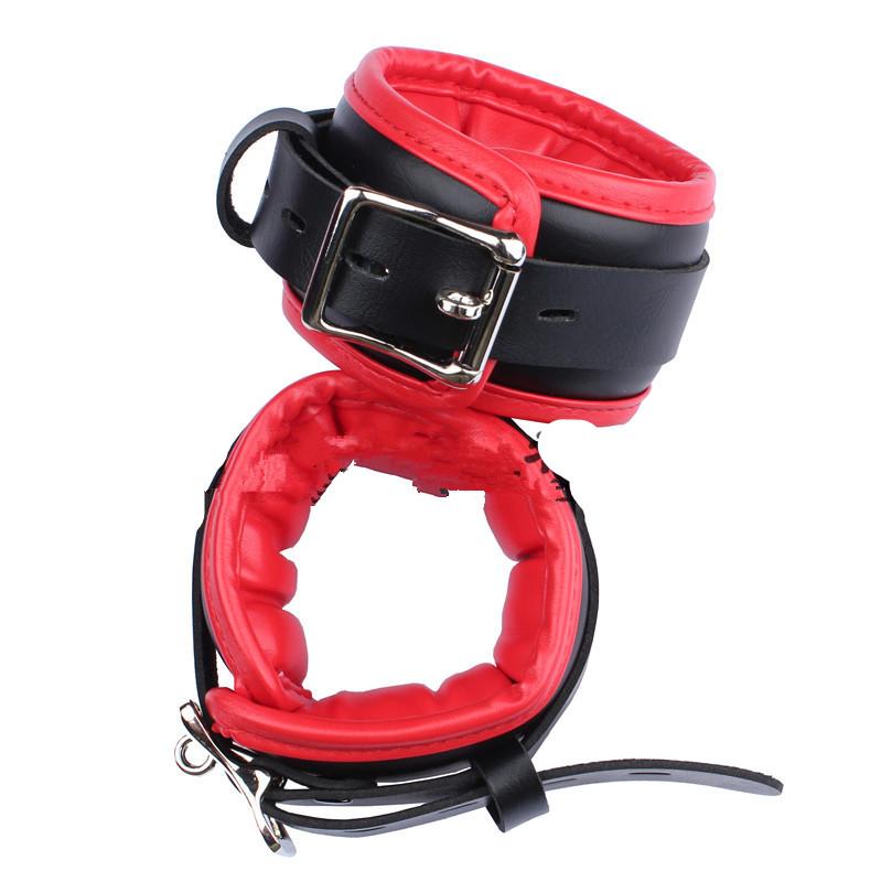 bdsm bondage restraints sets fetish play amateur babe wrist ankle cuffs handcuffs sex collar FAUX LEATHER HMKIT-3001NEW