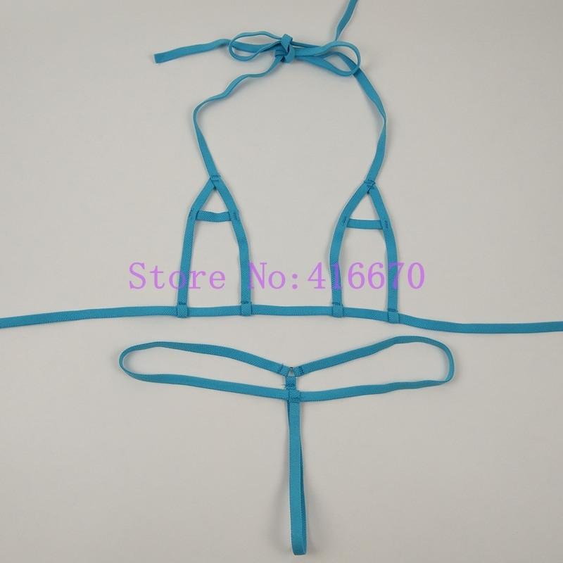 Frauen Extreme Hot Sexy Peek-A-Boo Geöffneter Gabelung Erotische Dessous Unterwäsche Mini Micro Exotische Bikini Set Nachtwäsche Kostüme GStrings Y18101502