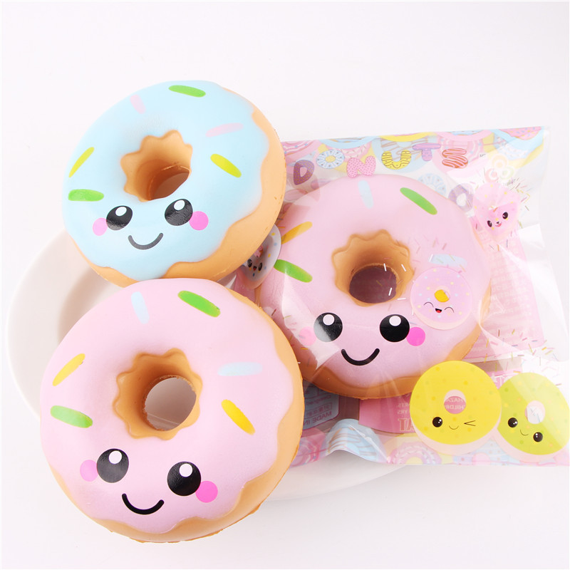 Lovely Squishy Doughnut Slow Rising Decompression Toys Jumbo Food Bread Cake For Kids Adults Blue Pink Stress Relief Toy DHL Free
