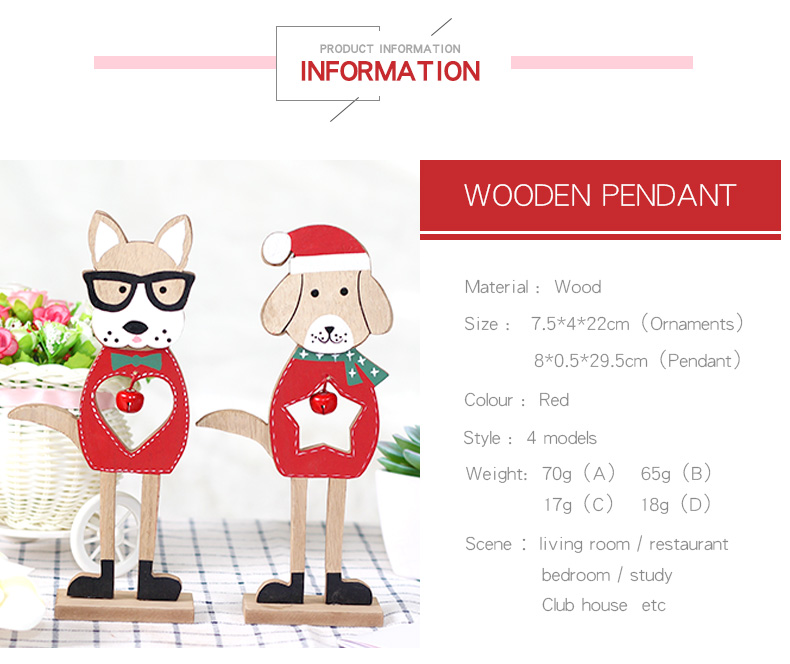 02 2019 Merry Christmas Wooden dog Ornaments Room Wall Hanging Accessories For Home Table Desktop Stand Decor Santa Bells Dog Gifts