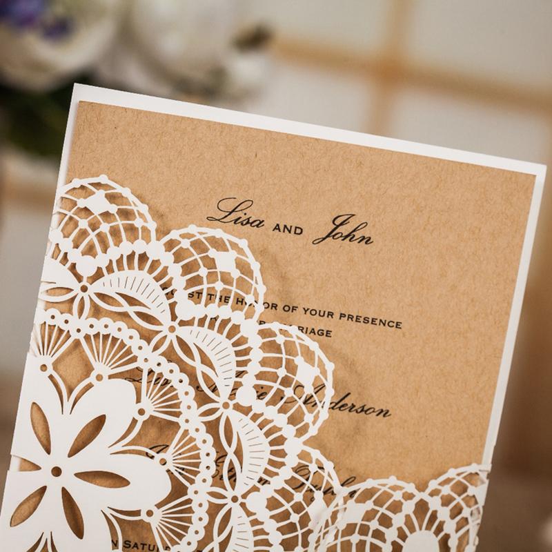 White Laser-Cut Wedding Invites