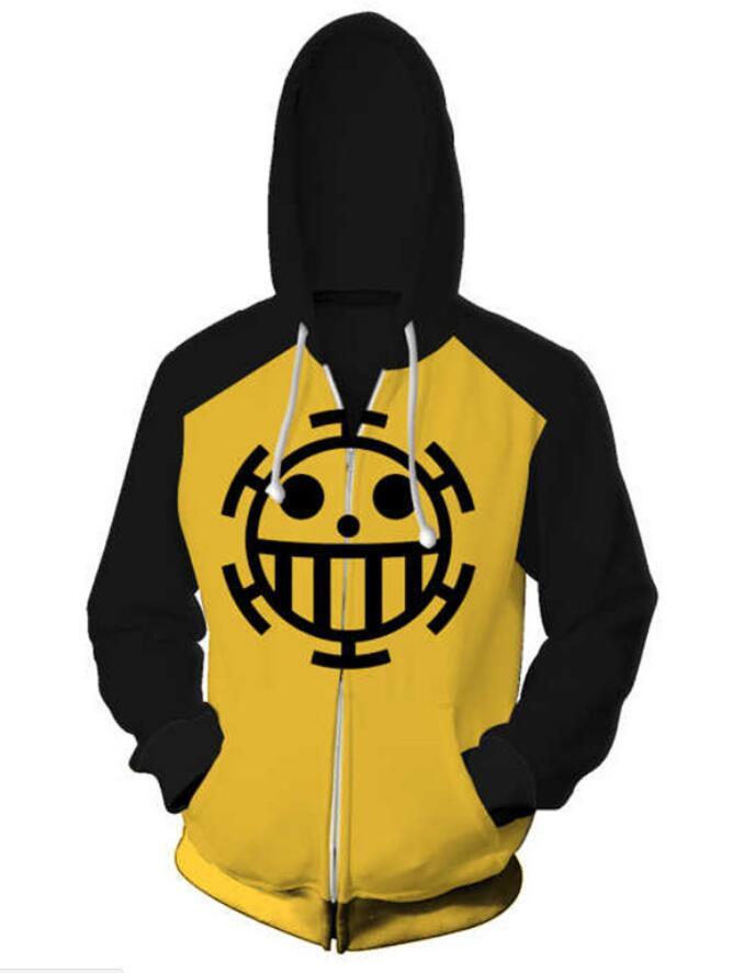 ONE PIECE Trafalgar D Water Law hoodie Sweatshirt Cosplay Costume zip up coat