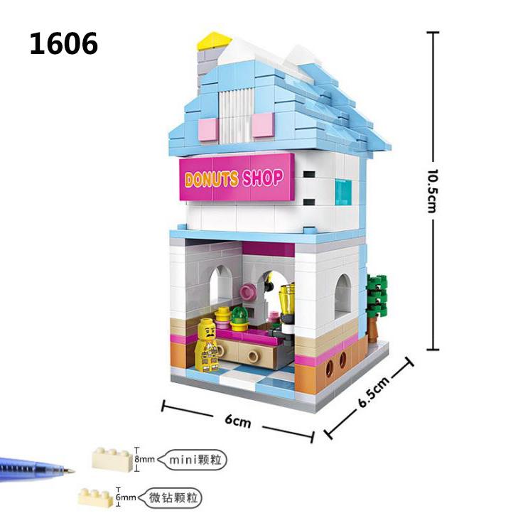 Juguetes para niños LOZ Pequeñas partículas Bloques de construcción de diamante Juguetes de ortografía 1601-1608 Mini escena callejera de juguete para niños