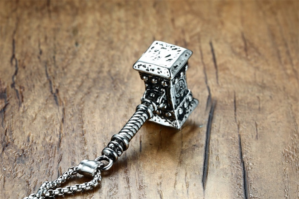 Mens Solid Viking Thors Hammer Pendant Necklace Stainless Steel Vintage Mjolnir Norse Jewelry collares collier colar kolye collane choker 17