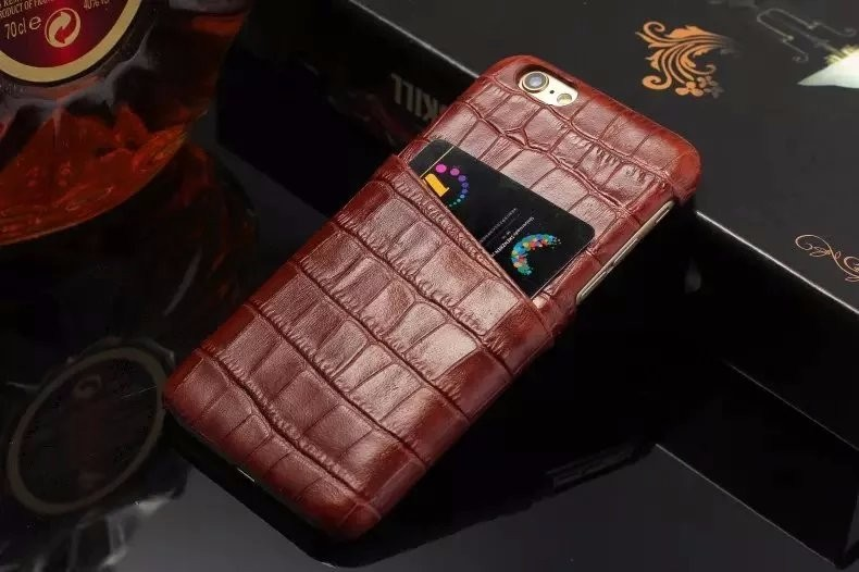 brown color real leather case for iPhone 6 6S Plus card cover