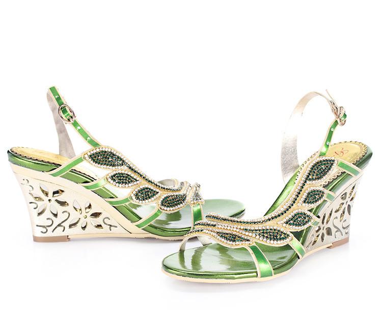2016 Summer New Luxury Diamond Shoes Women 8cm High Heels Sexy Wedge Sandals Big Size 119