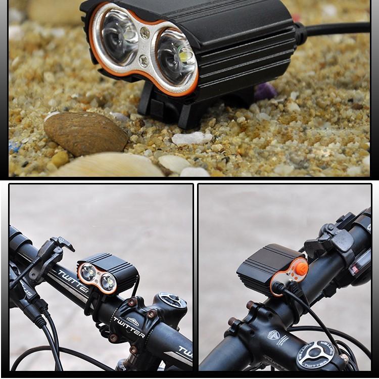 2000 Lumen Double T6 Bike Bicycle Cycling LED Light Flashlight High Brightness Lamp Front Light (9)