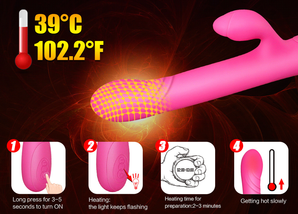 BHeating Dildo Vibrator G Spot Sex Toys for Woman thrusting Stretching Magic Wand Massager Anal Vibrator for Women