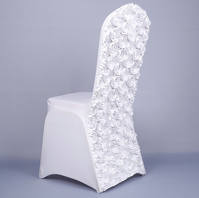 3D Rose Flower Universal Stretch Spandex Chair Covers for Weddings Party Banquet Decoration Accessories Elegant Wedding Chair Covers