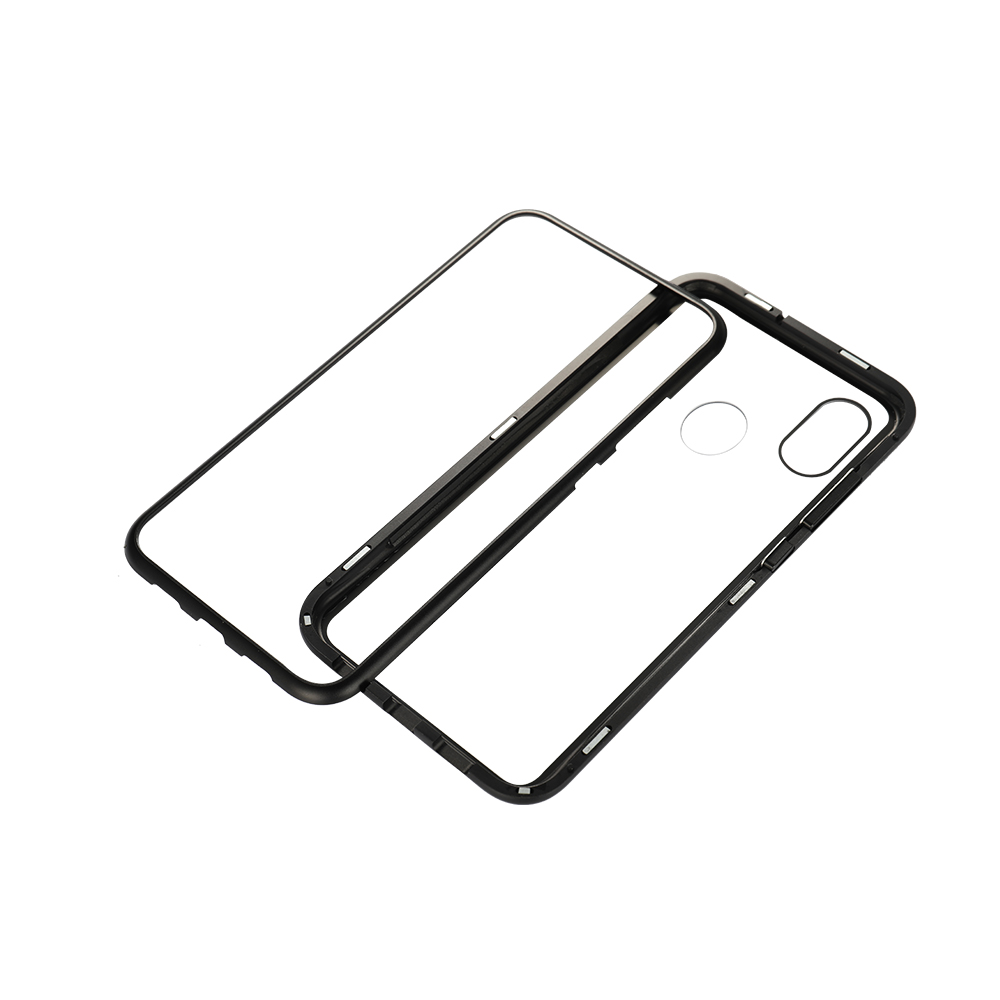 Magnetic Glass Phone Case Tempered Glass Adsorption Protection Cover Bumper Luxury Aluminum Metal Frame Cases for Xiaomi 8