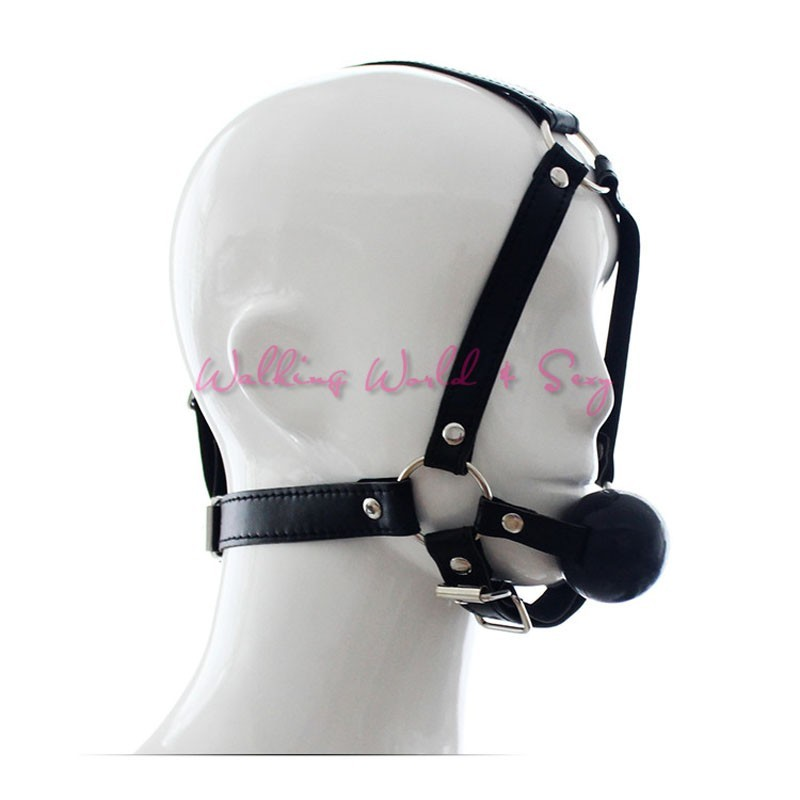 Leather Head Harness Bondage Restraints Mask Open Mouth Gag Silicon Ball Toys Sex Games Adult Fetish Product For Women Men (9)