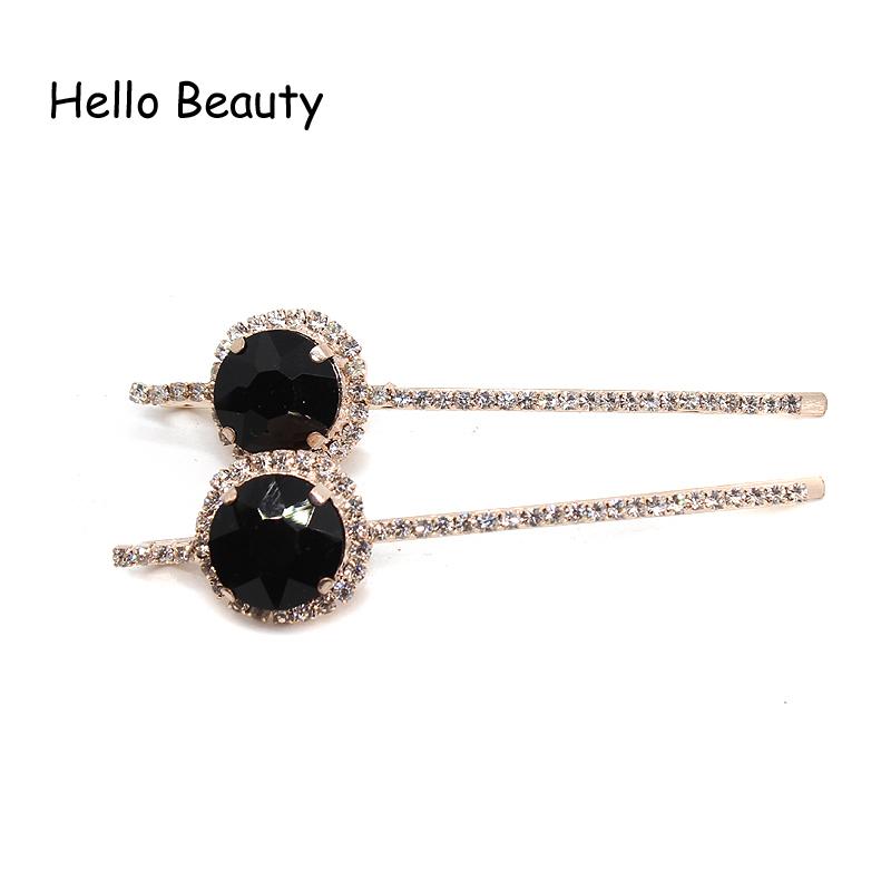 Korean Fashion Hair Accessories Hairpins Diamante Hairclips Luxury Round Crystal Rhinestone Hair Clip Barrette For Women S918
