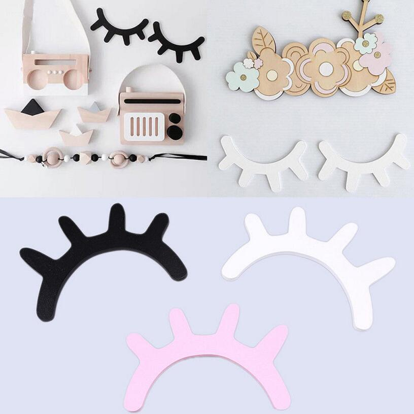 Wooden Eyelash Wall Sticker 15*10cm Cute 3D Closed Eye DIY Home Decor For Kids Room OOA5854