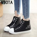 Großhandel 2019 VTOTA Mode Frauen Freizeitschuhe Plattform Stiefeletten Höhe Zunehmende High Top Graffiti Schuhe Leinwand Frauen Keile Schuhe X761