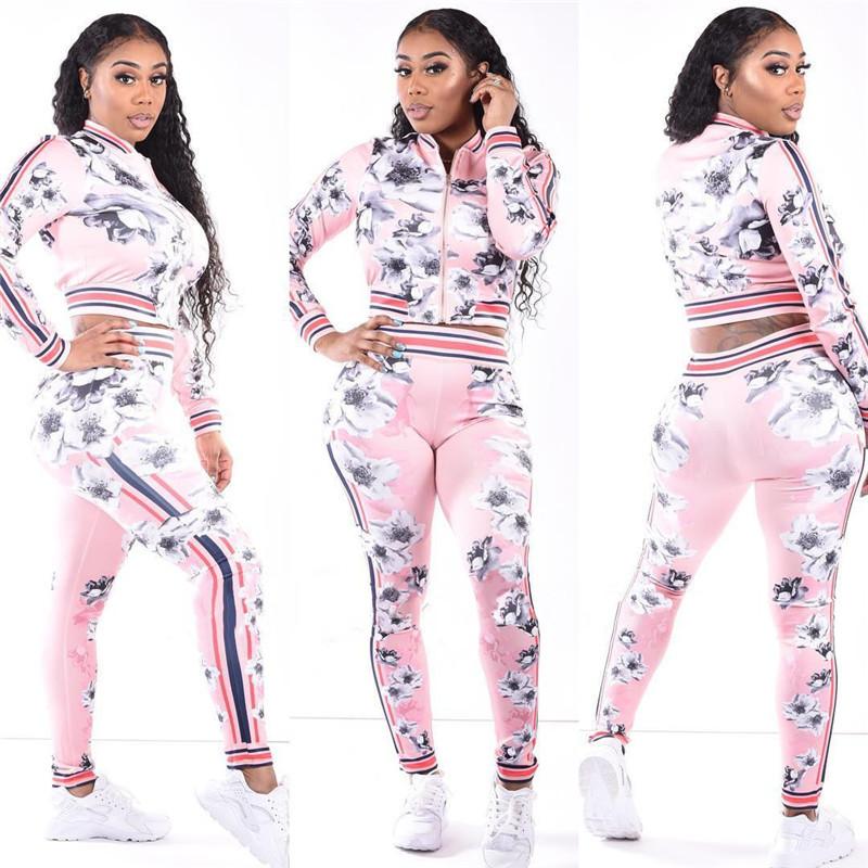 Autumn Winter Floral Tracksuit for Women Flower Print Crop Jacket + Pants Leggings Sweatsuit Sportswear Striped Hoodie Outfit Pink