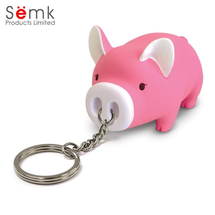 Porcinet mignon de bande dessin/ée avec lampe de poche /à DEL et son trouveur de cl/é en m/étal Keychains porte-cl/és pour cadeau pour enfants Rose