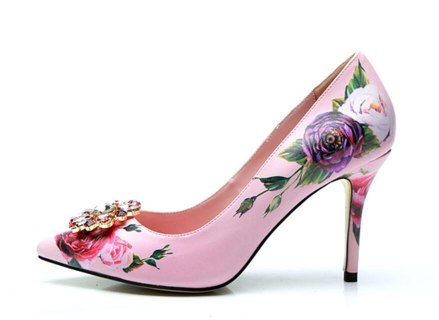2018 New arrival women pink high heels flower print pumps thin heel party shoes diamond button pumps point toe wedding dress shoes