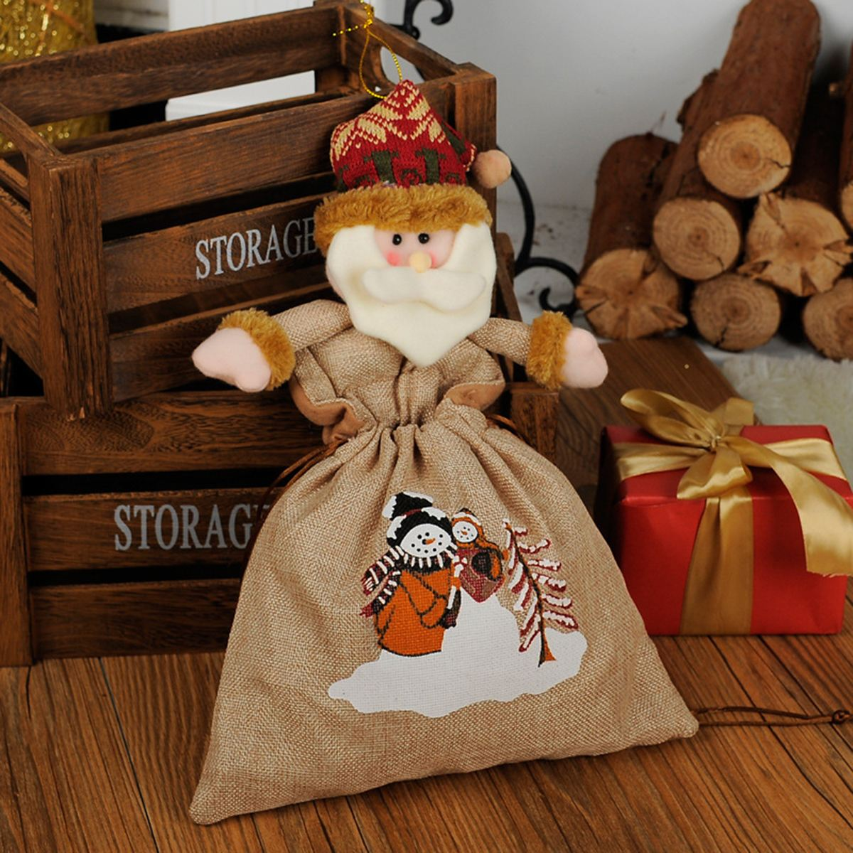 Christmas Candy Gift Bag Fireplace Xmas Tree Party Hanging Decoration Ornament for Office Shopping Mall Home Hotel