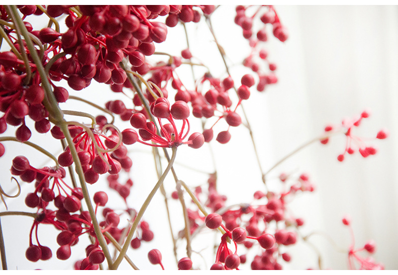 Flone Artificial Flower Branch Fake Red Bean Fruit Vine Simulation Plant Flowers Rattan Wedding Home Party Decoration Floral (17)