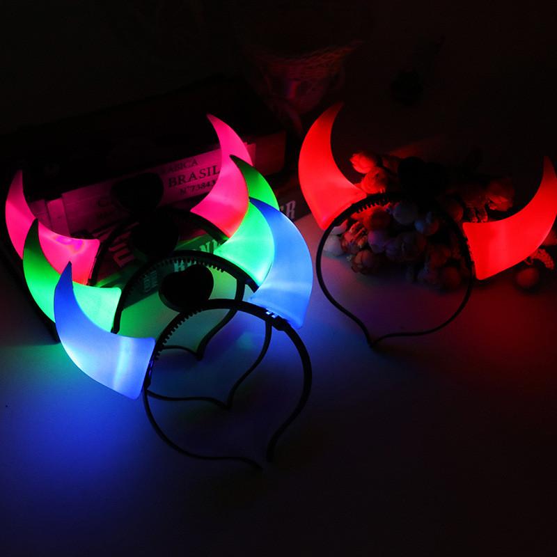 Christmas LED ox Horn Light Up Headband Halloween Party Cosplay Prop Headwear Light-emitting Hair Clasp Birthday New Year Gift Devil horn