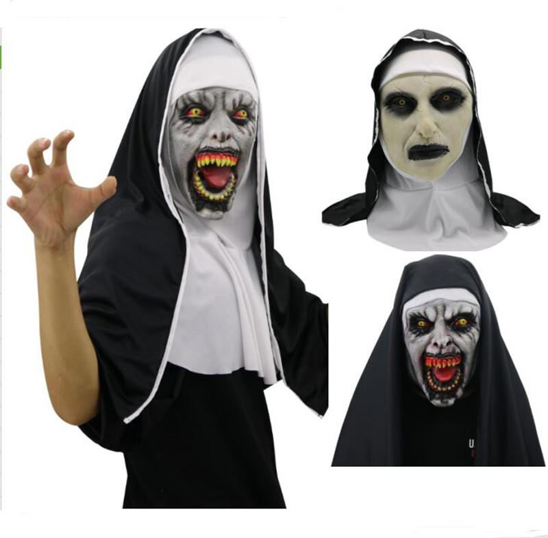 Cadılar bayramı The Nun Korku Maskesi Cosplay Valak Korkunç Lateks Maskeleri Tam Yüz Kask Demon Cadılar Bayramı Partisi Kostüm Sahne 2018 Yeni