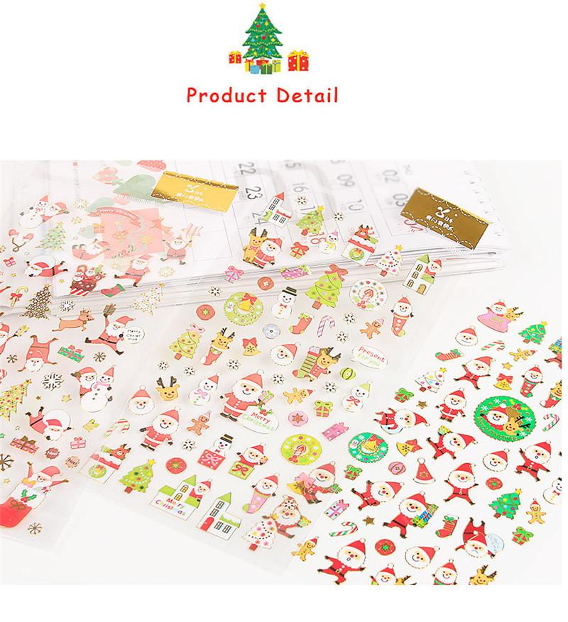 Fashion Christmas Cartoon Sticker Santa Claus Wall Stickers Christmas Tree Snowman gift Paster Kindergarten Reward for kids Children PVC