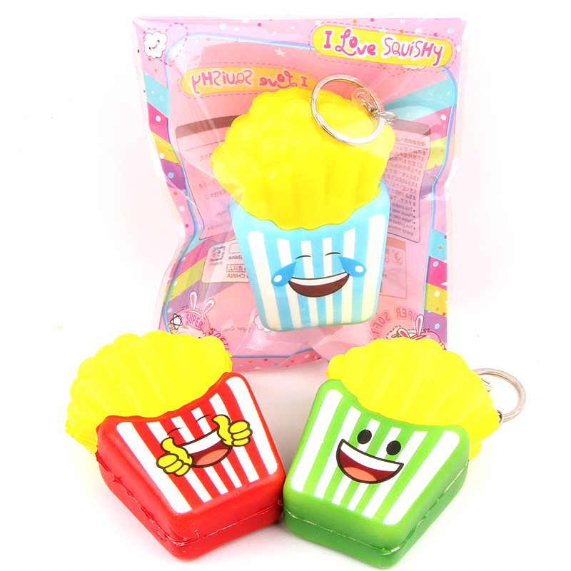18Pcs New kawaii Squishy Mini 7cm French Fries Squishy Slow Rising Squeeze Stress Relief Toy Charms Phone Strap kid Juguetes