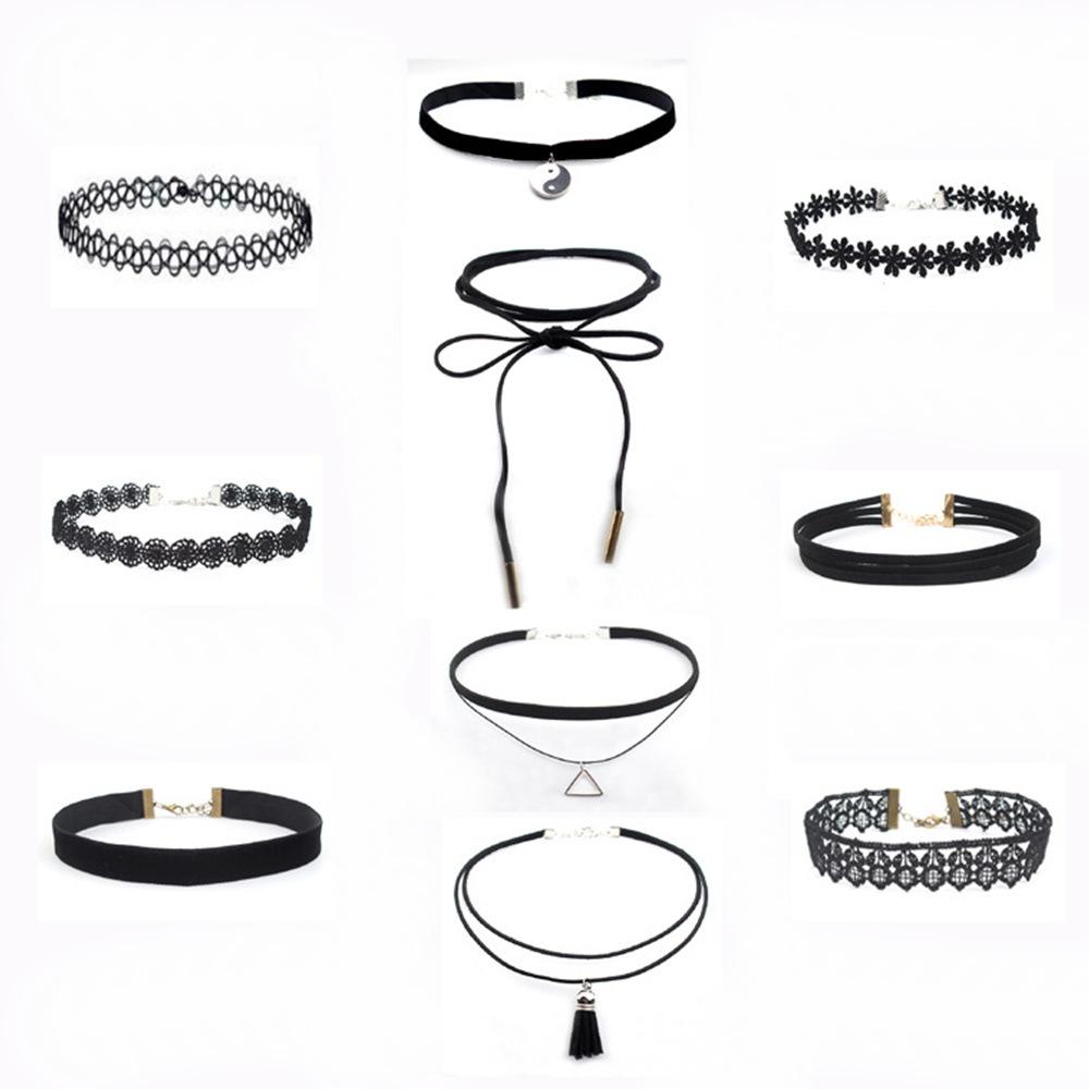 Lace Choker Halskette Halskette Set schwarz koreanische Samt Kragen CX541