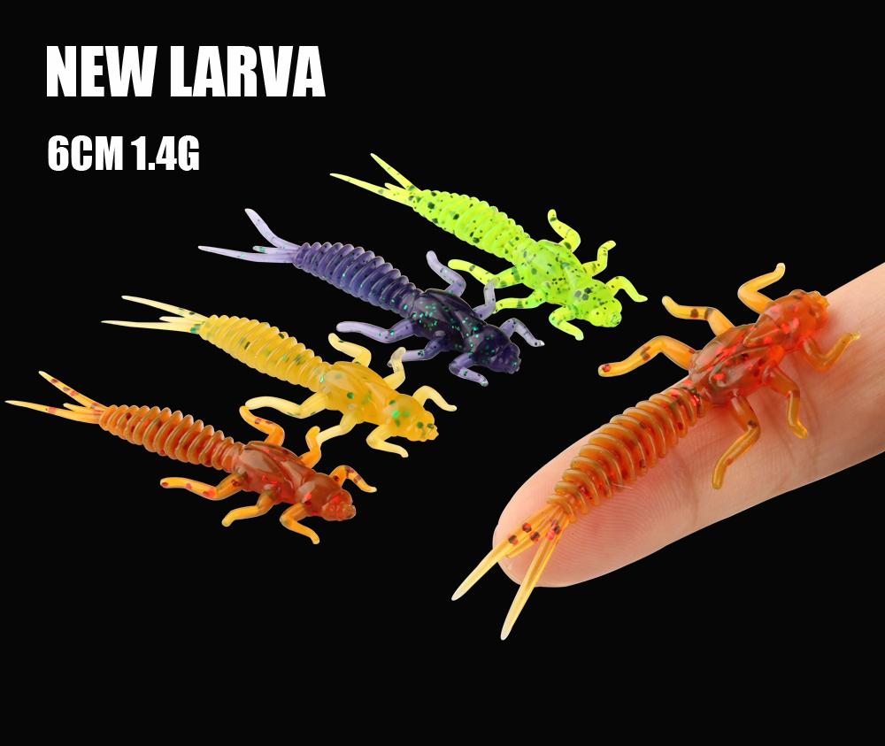 RoseWood Larva Soft Lure 1.4g 6cm Swimbait Worm Fishing Bait Isca Artificial Lifelike Dragonfly Jigging Fishing Tackle China (3)