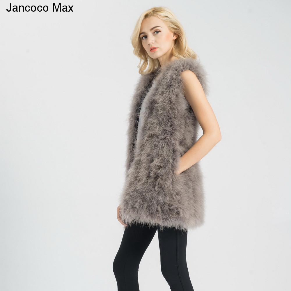 Jancoco-Max-S1007-Real-fur-gilet-Or-Genuine-ostrich-Turkey-Feather-fur-Long-Vest-Women-New (2)