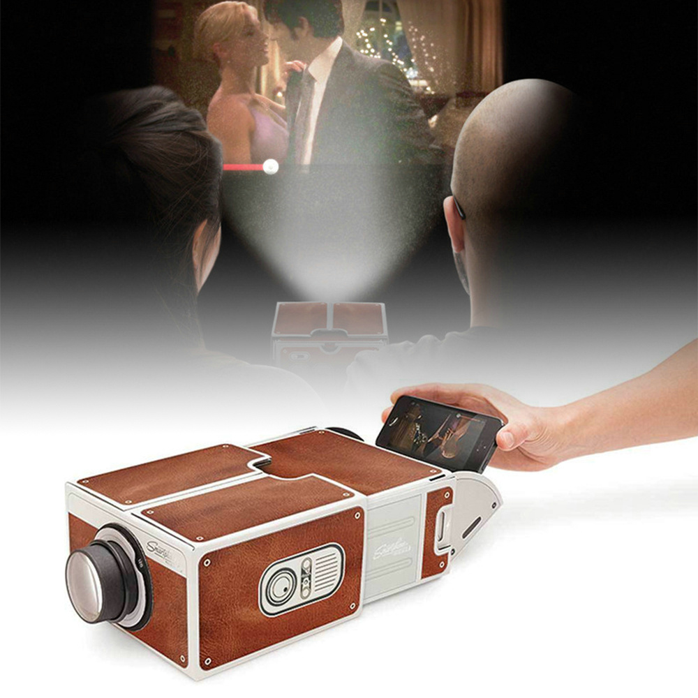 HOT SALE Mini Portable Projector Cinema DIY Cardboard Smartphone Projection Mobile phone Projector for Home Projector Audio & Video Gift