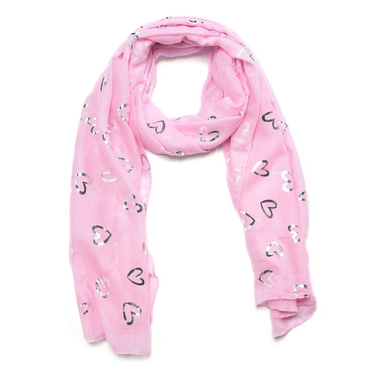 scarves shawl Grey ombré scarf  with pink hearts wrap
