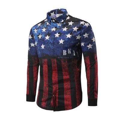 Nueva primavera de los hombres camisas casuales de moda de manga larga marca impresa Button-Up formal de negocios de lunares hombres florales camisa de vestir M-XXL