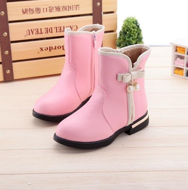 Discount Girls Cotton Shoes 2017 Autumn Winter New Warm Children's Boots Kids Cotton Shoes Pu Waterproof Princess Student Riding Boots