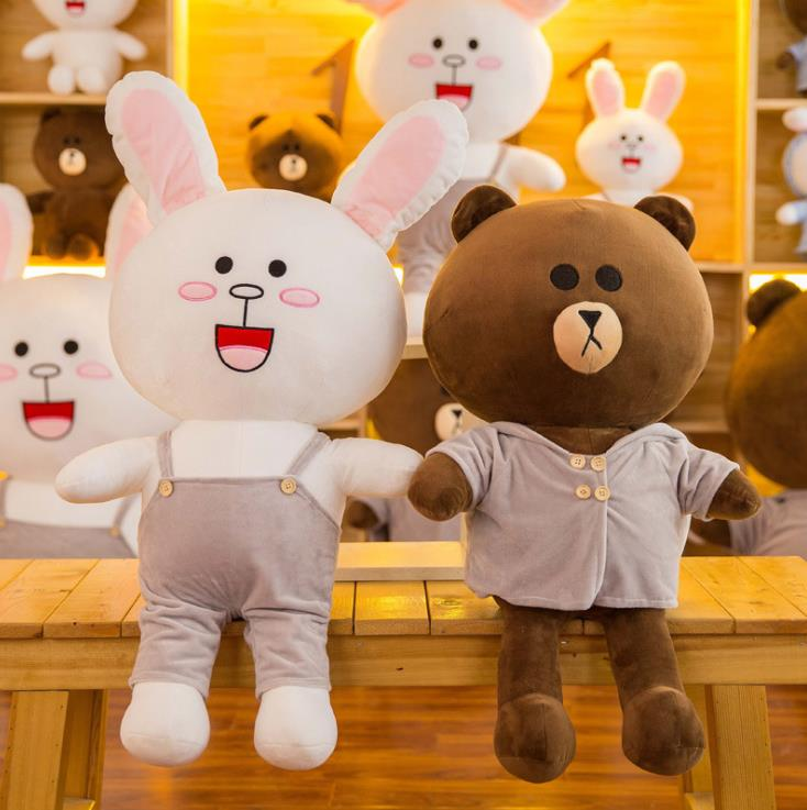 Children Toy Brown Bear Plush Toy Doll Kenny Bunny Pillow Cute Rabbit and Bear Doll Fashion Style Toys for Kids Christmas