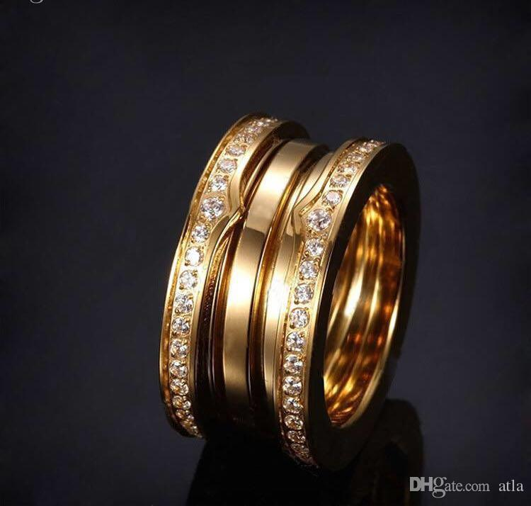 Fashion plated 18K stainless steel flexible multi-layered diamond ring, men and women wear jewelry love forever