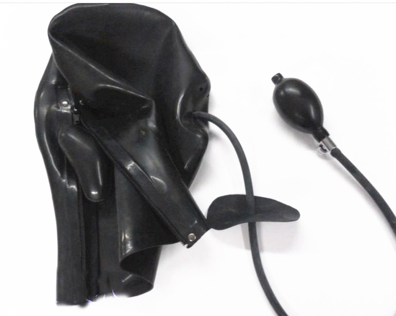 BDSM Bondage Mask Latex Sex Hood Cecità con Gonfiabile Bocca Gag Fetish Gioca a Sex Toys Black for Women