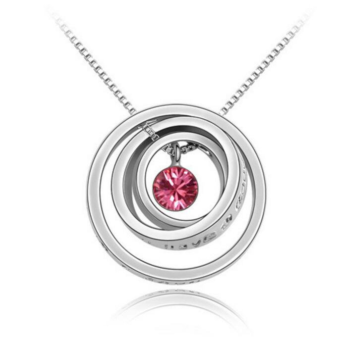 Mother's Day Gift Concentric Circles Crystal Pendant Necklace Made With Austrian Crystal Elementfor Women