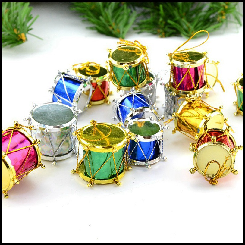Colorful Glitter Christmas Mini Drums Xmas Tree Ornaments Hanging Decoration Pendants Christmas Holiday Wedding Party Decor 12pcs Assorted Color